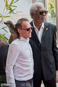 LOS ANGELES, CA - MARCH 29: Writer/Producer Drew Fellman and actor Morgan Freeman arrive at the premiere of 'Island Of Lemurs: Madagascar' at California Science Center on Saturday, March 29, 2014 in Los Angeles, California. (Photo by Tom Sorensen/Moovieboy Pictures)