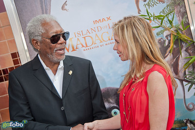 LOS ANGELES, CA - MARCH 29: Actor Morgan Freeman and Mireya Mayor arrive at the premiere of 'Island Of Lemurs: Madagascar' at California Science Center on Saturday, March 29, 2014 in Los Angeles, California. (Photo by Tom Sorensen/Moovieboy Pictures)