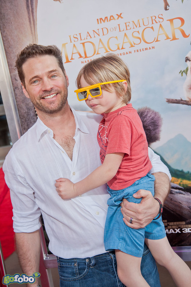 LOS ANGELES, CA - MARCH 29: Actors Jason Priestley and family arrive at the premiere of 'Island Of Lemurs: Madagascar' at California Science Center on Saturday, March 29, 2014 in Los Angeles, California. (Photo by Tom Sorensen/Moovieboy Pictures)
