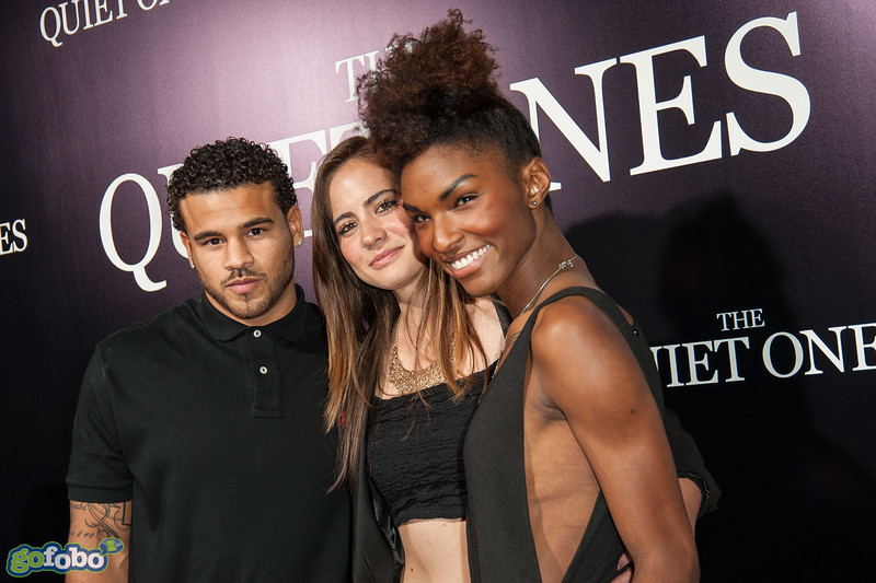 LOS ANGELES, CA - APRIL 22: (L-R) Cory Wharton, Ashley Mitchell and Arielle Scott arrive at the premiere of Lionsgate Films' 'The Quiet Ones' at The Theatre At Ace Hotel on Tuesday April 22, 2014 in Los Angeles, California. (Photo by Tom Sorensen/Moovieboy Pictures)