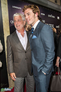 LOS ANGELES, CA - APRIL 22: Rob Friedman, Co-Chairman of Lionsgate Motion Picture Group and actor Sam Claflin arrive at the premiere of Lionsgate Films' 'The Quiet Ones' at The Theatre At Ace Hotel on Tuesday April 22, 2014 in Los Angeles, California. (Photo by Tom Sorensen/Moovieboy Pictures)