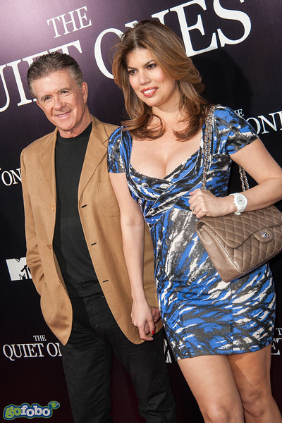 LOS ANGELES, CA - APRIL 22: Actor Alan Thicke (L) and Tanya Callau arrive at the premiere of Lionsgate Films' 'The Quiet Ones' at The Theatre At Ace Hotel on Tuesday April 22, 2014 in Los Angeles, California. (Photo by Tom Sorensen/Moovieboy Pictures)