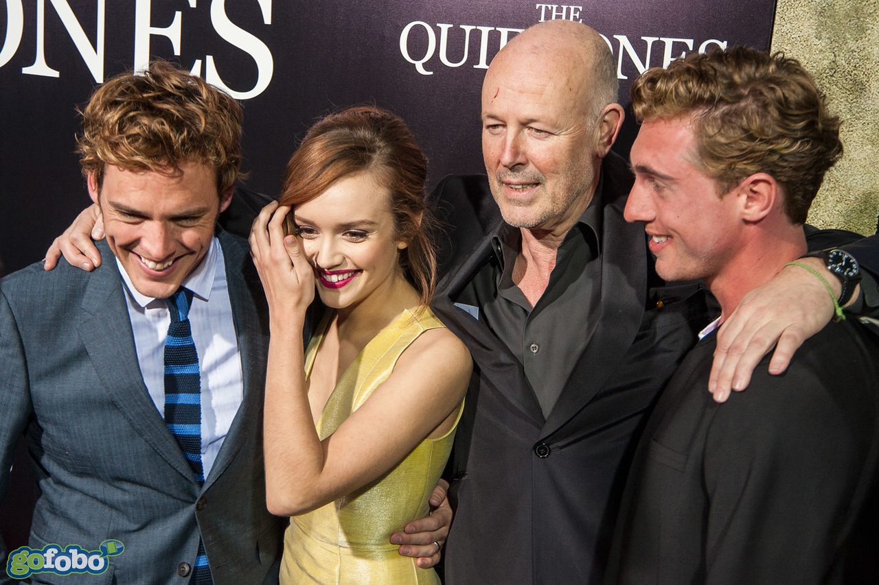 LOS ANGELES, CA - APRIL 22: Actors Sam Claflin, Olivia Cooke, producer Simon Oakes and actor Rory Fleck-Byrne arrive at the premiere of Lionsgate Films' 'The Quiet Ones' at The Theatre At Ace Hotel on Tuesday April 22, 2014 in Los Angeles, California. (Photo by Tom Sorensen/Moovieboy Pictures)