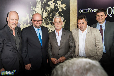 LOS ANGELES, CA - APRIL 22: Producer Simon Oakes, Director John Pogue, Rob Friedman, Co-Chairman of Lionsgate Motion Picture Group, Producer Tobin Armbrust and Jason Constantine, President of Acquisitions and Co-Productions of Lionsgate Motion Picture Group arrive at the premiere of Lionsgate Films' 'The Quiet Ones' at The Theatre At Ace Hotel on Tuesday April 22, 2014 in Los Angeles, California. (Photo by Tom Sorensen/Moovieboy Pictures)