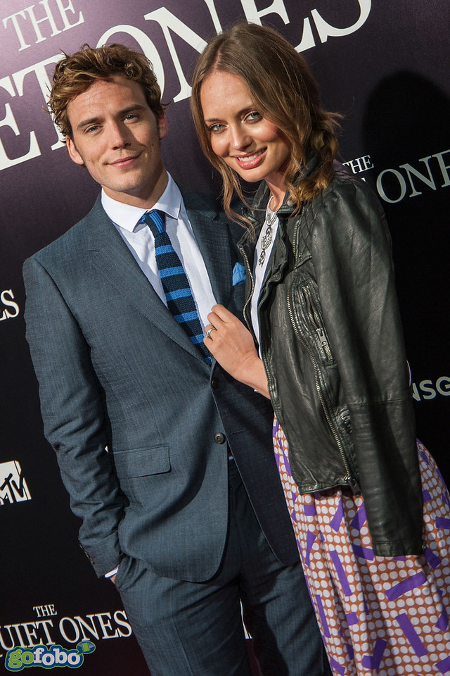 LOS ANGELES, CA - APRIL 22: Actor Sam Claflin and wife Laura Haddock arrive at the premiere of Lionsgate Films' 'The Quiet Ones' at The Theatre At Ace Hotel on Tuesday April 22, 2014 in Los Angeles, California. (Photo by Tom Sorensen/Moovieboy Pictures)