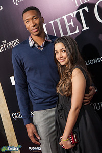 LOS ANGELES, CA - APRIL 22: NBA player Wesley Johnson (L) and guest arrive at the premiere of Lionsgate Films' 'The Quiet Ones' at The Theatre At Ace Hotel on Tuesday April 22, 2014 in Los Angeles, California. (Photo by Tom Sorensen/Moovieboy Pictures)