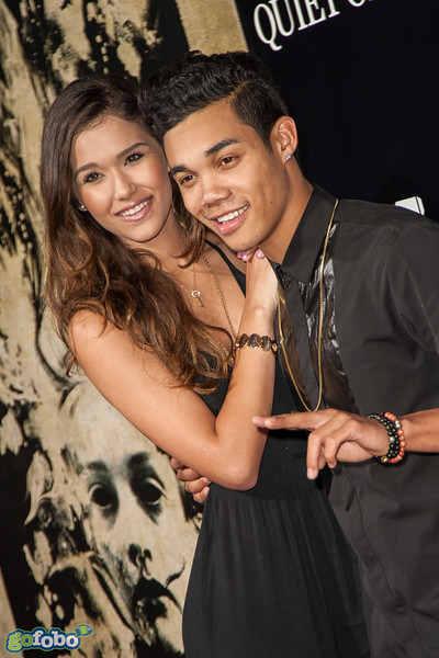 LOS ANGELES, CA - APRIL 22: Actor Roshon Fegan (R) and guest arrive at the premiere of Lionsgate Films' 'The Quiet Ones' at The Theatre At Ace Hotel on Tuesday April 22, 2014 in Los Angeles, California. (Photo by Tom Sorensen/Moovieboy Pictures)