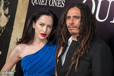 LOS ANGELES, CA - APRIL 22: James Shaffer aka Munky of the band KORN (R) and Evis Xheneti arrive at the premiere of Lionsgate Films' 'The Quiet Ones' at The Theatre At Ace Hotel on Tuesday April 22, 2014 in Los Angeles, California. (Photo by Tom Sorensen/Moovieboy Pictures)