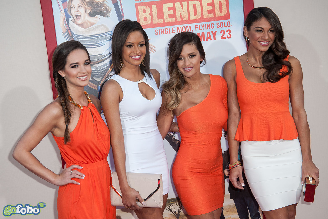 HOLLYWOOD, CA - MAY 21: (L-R) Hooters Girls Francesca Ruffino, Marissa Raisor, Casey Luckey and Janet Layug arrive at the Los Angeles premiere of 'Blended' at TCL Chinese Theatre on Wednesday May 21, 2014 in Hollywood, California. (Photo by Tom Sorensen/Moovieboy Pictures)