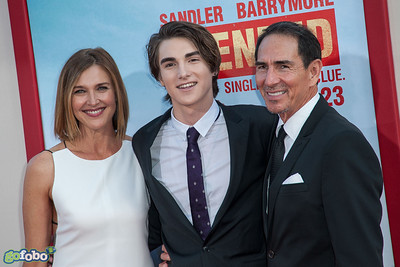 HOLLYWOOD, CA - MAY 21: Actress Brenda Strong, son actor Zak Henri and husband Tom Henri arrive at the Los Angeles premiere of 'Blended' at TCL Chinese Theatre on Wednesday May 21, 2014 in Hollywood, California. (Photo by Tom Sorensen/Moovieboy Pictures)