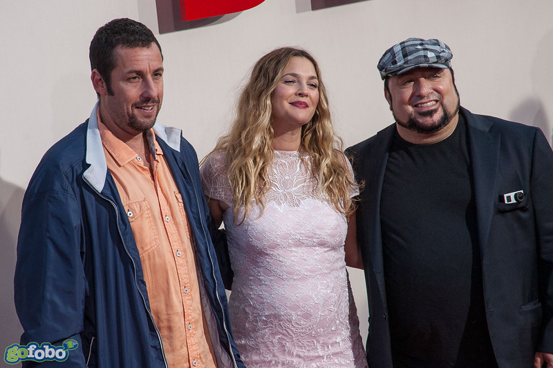 HOLLYWOOD, CA - MAY 21: Actors Adam Sandler and Drew Barrymore and director Frank Coraci  arrive at the Los Angeles premiere of 'Blended' at TCL Chinese Theatre on Wednesday May 21, 2014 in Hollywood, California. (Photo by Tom Sorensen/Moovieboy Pictures)