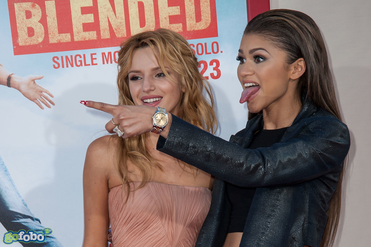 HOLLYWOOD, CA - MAY 21: Actors Bella Thorne and Zendaya arrive at the Los Angeles premiere of 'Blended' at TCL Chinese Theatre on Wednesday May 21, 2014 in Hollywood, California. (Photo by Tom Sorensen/Moovieboy Pictures)