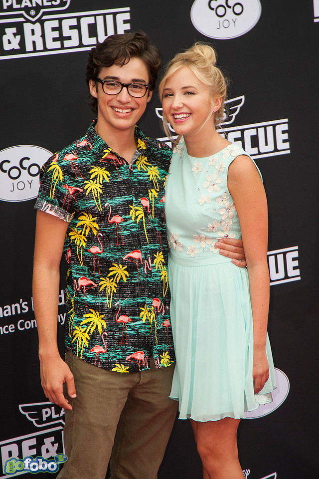 HOLLYWOOD, CA - JULY 15: Actors Joey Bragg (L) and Audrey Whitby attend the premiere of Disney's 'Planes: Fire & Rescue' at the El Capitan Theatre on Tuesday July 15, 2014 in Hollywood, California. (Photo by Tom Sorensen/Moovieboy Pictures)