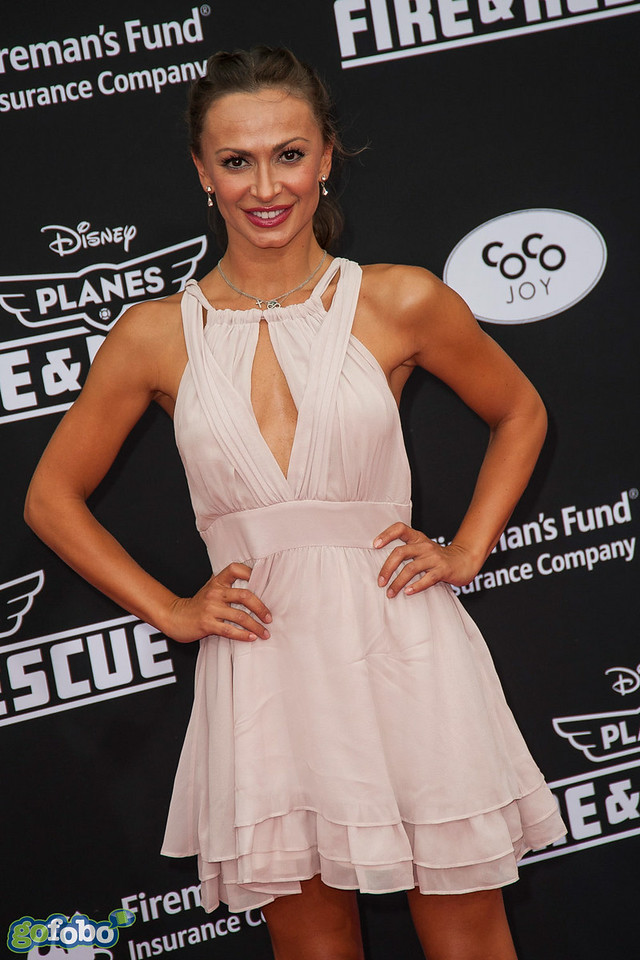 HOLLYWOOD, CA - JULY 15: Dancer/TV personality Karina Smirnoff attends the premiere of Disney's 'Planes: Fire & Rescue' at the El Capitan Theatre on Tuesday July 15, 2014 in Hollywood, California. (Photo by Tom Sorensen/Moovieboy Pictures)
