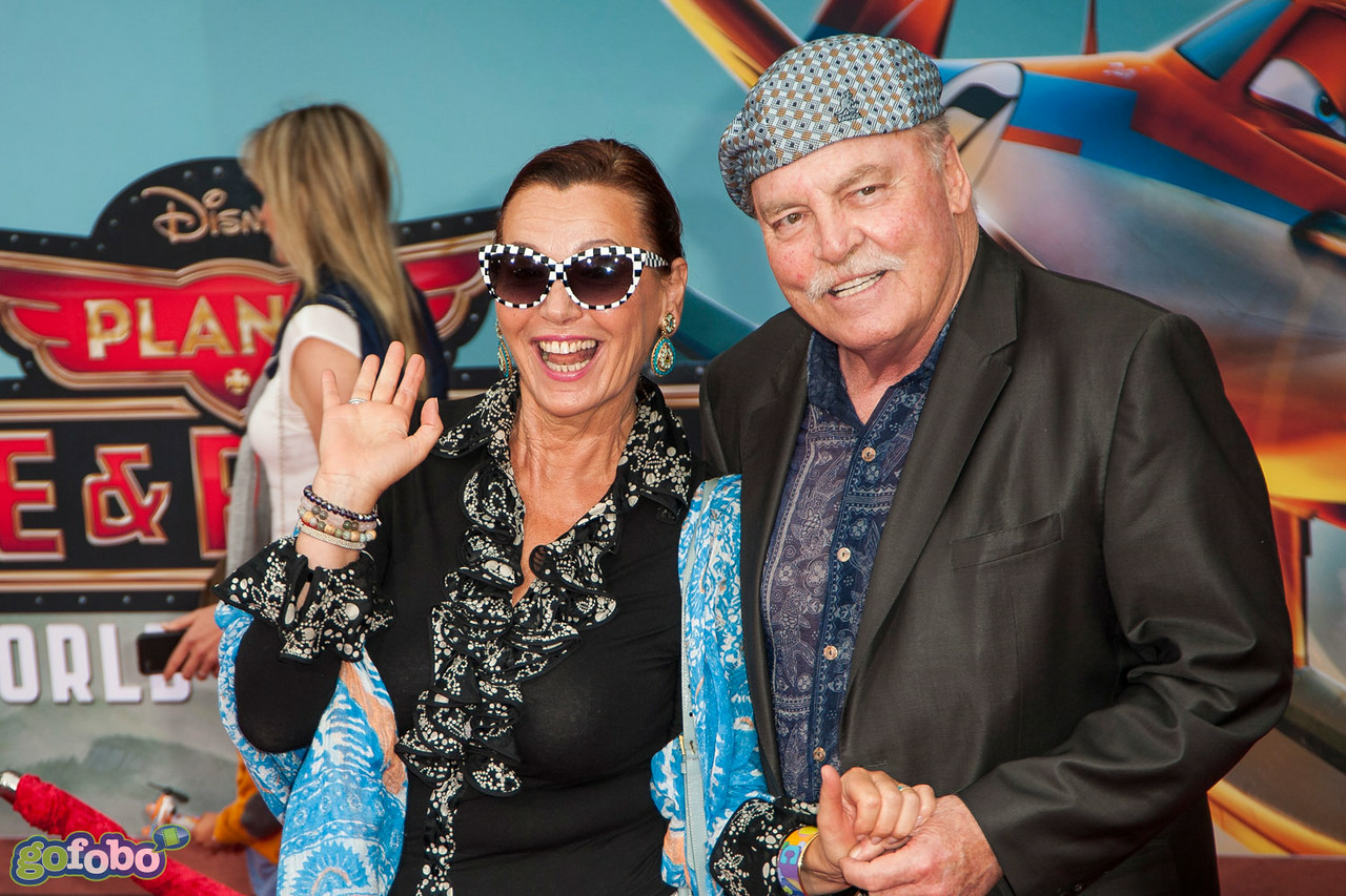 HOLLYWOOD, CA - JULY 15: Actor Stacy Keach (R) and wife Malgosia Tomassi attend the premiere of Disney's 'Planes: Fire & Rescue' at the El Capitan Theatre on Tuesday July 15, 2014 in Hollywood, California. (Photo by Tom Sorensen/Moovieboy Pictures)