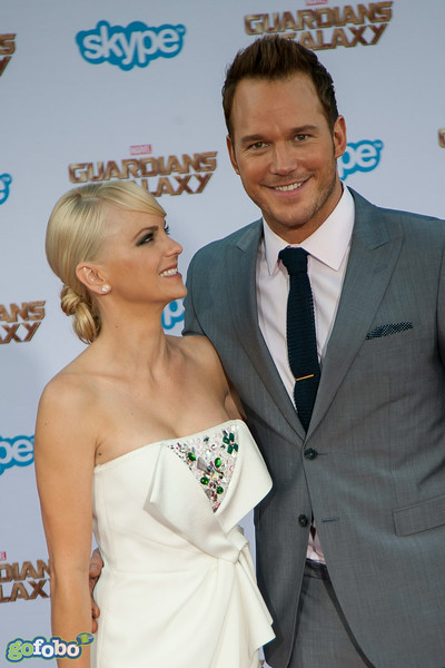 HOLLYWOOD, CA - JULY 21: Actors Chris Pratt (R) and Anna Faris attend  Marvel's 'Guardians Of The Galaxy' Los Angeles Premiere at the Dolby Theatre on Monday July 21, 2014 in Hollywood, California. (Photo by Tom Sorensen/Moovieboy Pictures)