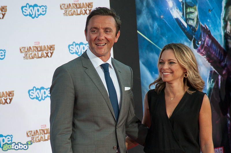 HOLLYWOOD, CA - JULY 21: Actor Peter Serafinowicz and Sarah Alexander attend Marvel's 'Guardians Of The Galaxy' Los Angeles Premiere at the Dolby Theatre on Monday July 21, 2014 in Hollywood, California. (Photo by Tom Sorensen/Moovieboy Pictures)