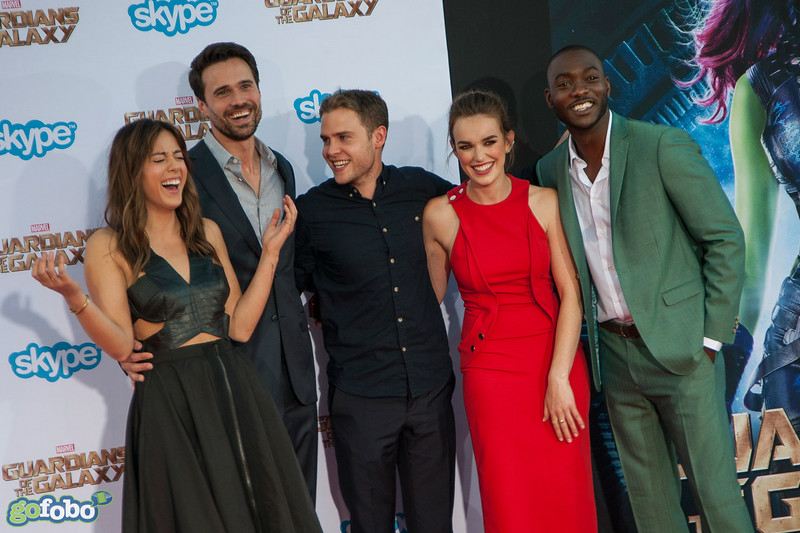 HOLLYWOOD, CA - JULY 21: Actors Chloe Bennet, Brett Dalton, Iain De Caestecker, Elizabeth Henstridge and B.J. Britt attend Marvel's 'Guardians Of The Galaxy' Los Angeles Premiere at the Dolby Theatre on Monday July 21, 2014 in Hollywood, California. (Photo by Tom Sorensen/Moovieboy Pictures)