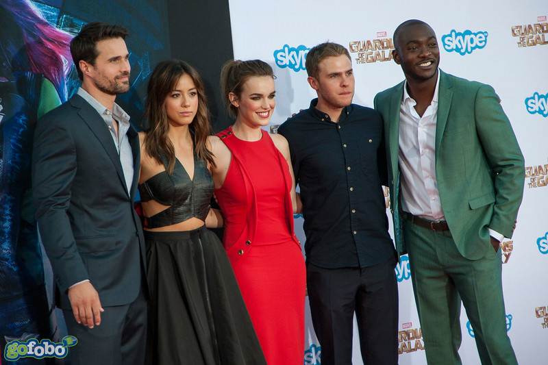 HOLLYWOOD, CA - JULY 21: Actors Brett Dalton, Chloe Bennet, Elizabeth Henstridge, Iain De Caestecker, and B.J. Britt attend Marvel's 'Guardians Of The Galaxy' Los Angeles Premiere at the Dolby Theatre on Monday July 21, 2014 in Hollywood, California. (Photo by Tom Sorensen/Moovieboy Pictures)