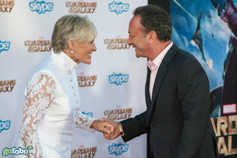 HOLLYWOOD, CA - JULY 21: Actresses Glenn Close (L) and executive producer Louis D'Esposito attend Marvel's 'Guardians Of The Galaxy' Los Angeles Premiere at the Dolby Theatre on Monday July 21, 2014 in Hollywood, California. (Photo by Tom Sorensen/Moovieboy Pictures)