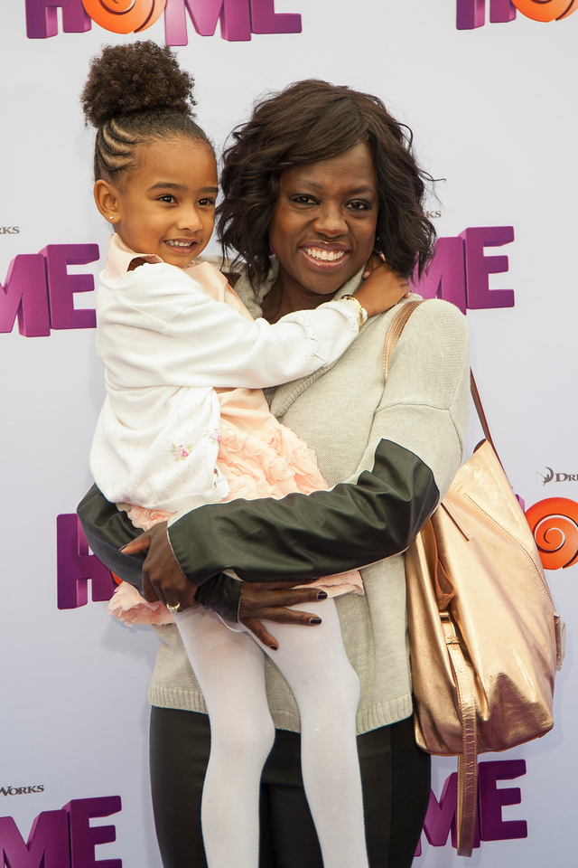 WESTWOOD, CA - MARCH 22: Actress Viola Davis and daughter arrive for the Premiere Of Twentieth Century Fox And Dreamworks Animation's 'HOME' held at Regency Village Theatre on Sunday March 22, 2015 in Westwood, California. (Photo by Tom Sorensen/Moovieboy Pictures)