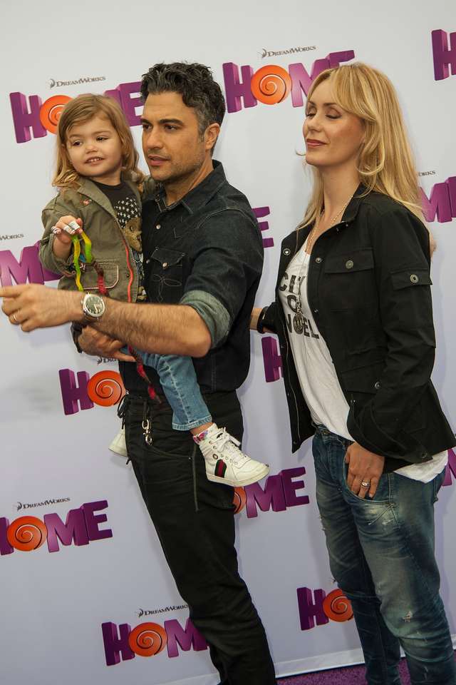 WESTWOOD, CA - MARCH 22:  Jaime Camil, daughter and Heidi Balvanera arrive for the Premiere Of Twentieth Century Fox And Dreamworks Animation's 'HOME' held at Regency Village Theatre on Sunday March 22, 2015 in Westwood, California. (Photo by Tom Sorensen/Moovieboy Pictures)