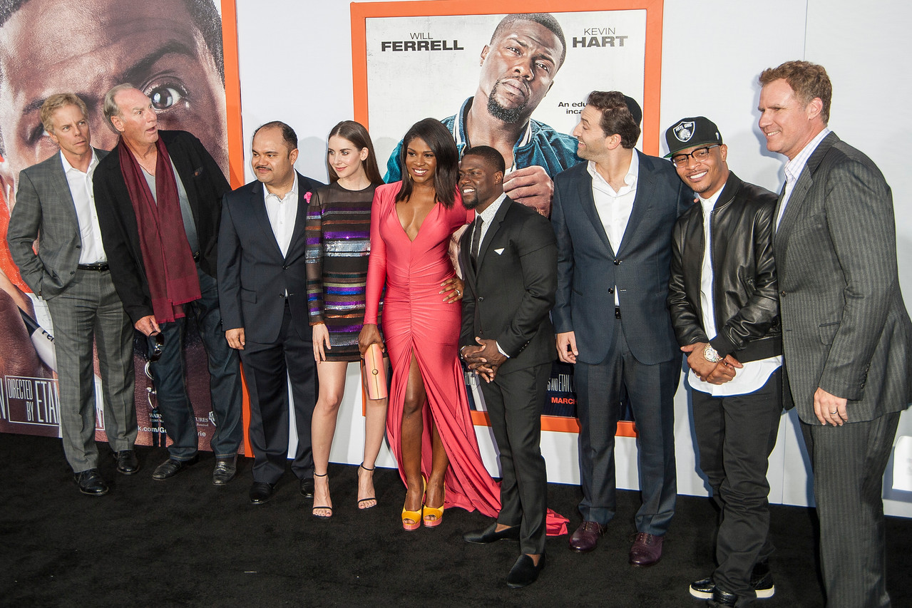 LOS ANGELES, CA - MARCH 25: Actors Greg Germann, Craig T. Nelson, Erick Chavarria, Alison Brie, Edwina Findley Dickerson, Kevin Hart, writer/director Etan Cohen, rapper Tip 'TI' Harris and actor Will Ferrell arrive at the premiere of Warner Bros. Pictures' 'Get Hard' at the Chinese Theatre on March 25, 2015 in Los Angeles, California. (Photo by Tom Sorensen/Moovieboy Pictures)