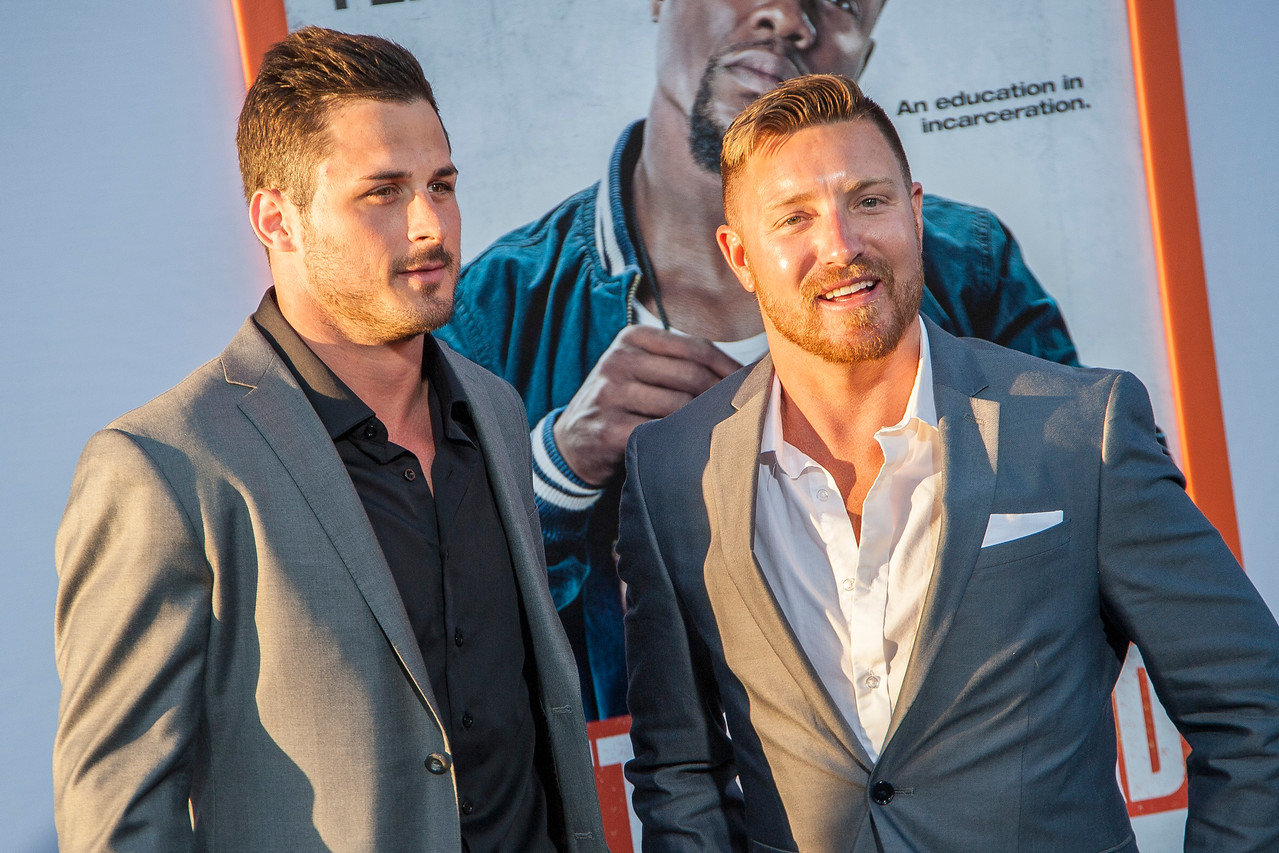 LOS ANGELES, CA - MARCH 25: NFL players Danny Amendola and Julian Edelman arrive at the premiere of Warner Bros. Pictures' 'Get Hard' at the Chinese Theatre on March 25, 2015 in Los Angeles, California. (Photo by Tom Sorensen/Moovieboy Pictures)