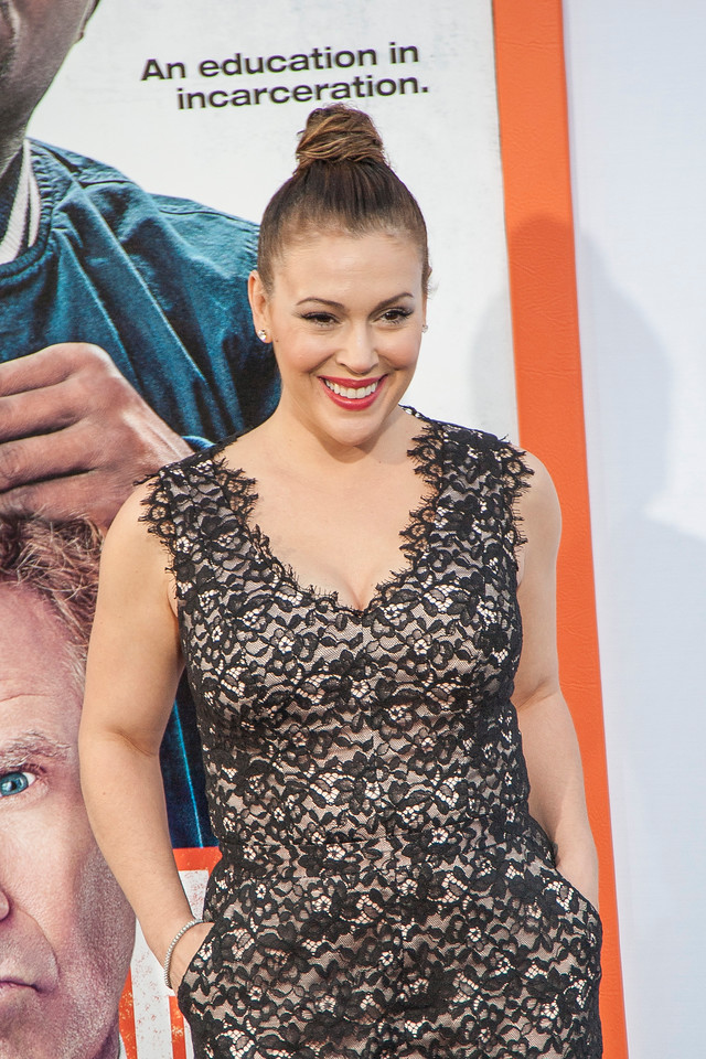 LOS ANGELES, CA - MARCH 25: Actress Alyssa Milano arrives at the premiere of Warner Bros. Pictures' 'Get Hard' at the Chinese Theatre on March 25, 2015 in Los Angeles, California. (Photo by Tom Sorensen/Moovieboy Pictures)