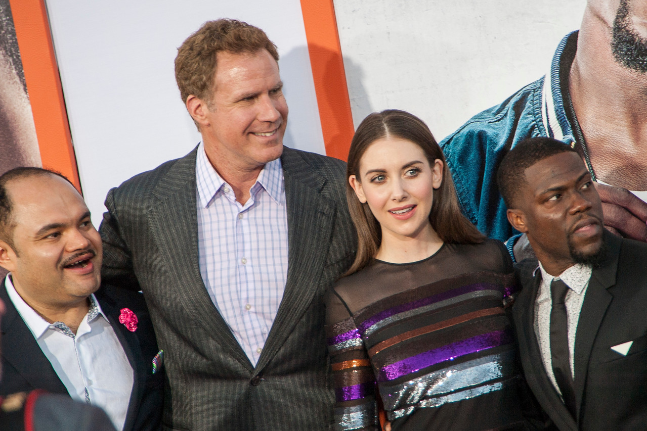 LOS ANGELES, CA - MARCH 25: Actors Erick Chavarria, Will Ferrell, Alison Brie and Kevin Hart arrive at the premiere of Warner Bros. Pictures' 'Get Hard' at the Chinese Theatre on March 25, 2015 in Los Angeles, California. (Photo by Tom Sorensen/Moovieboy Pictures)