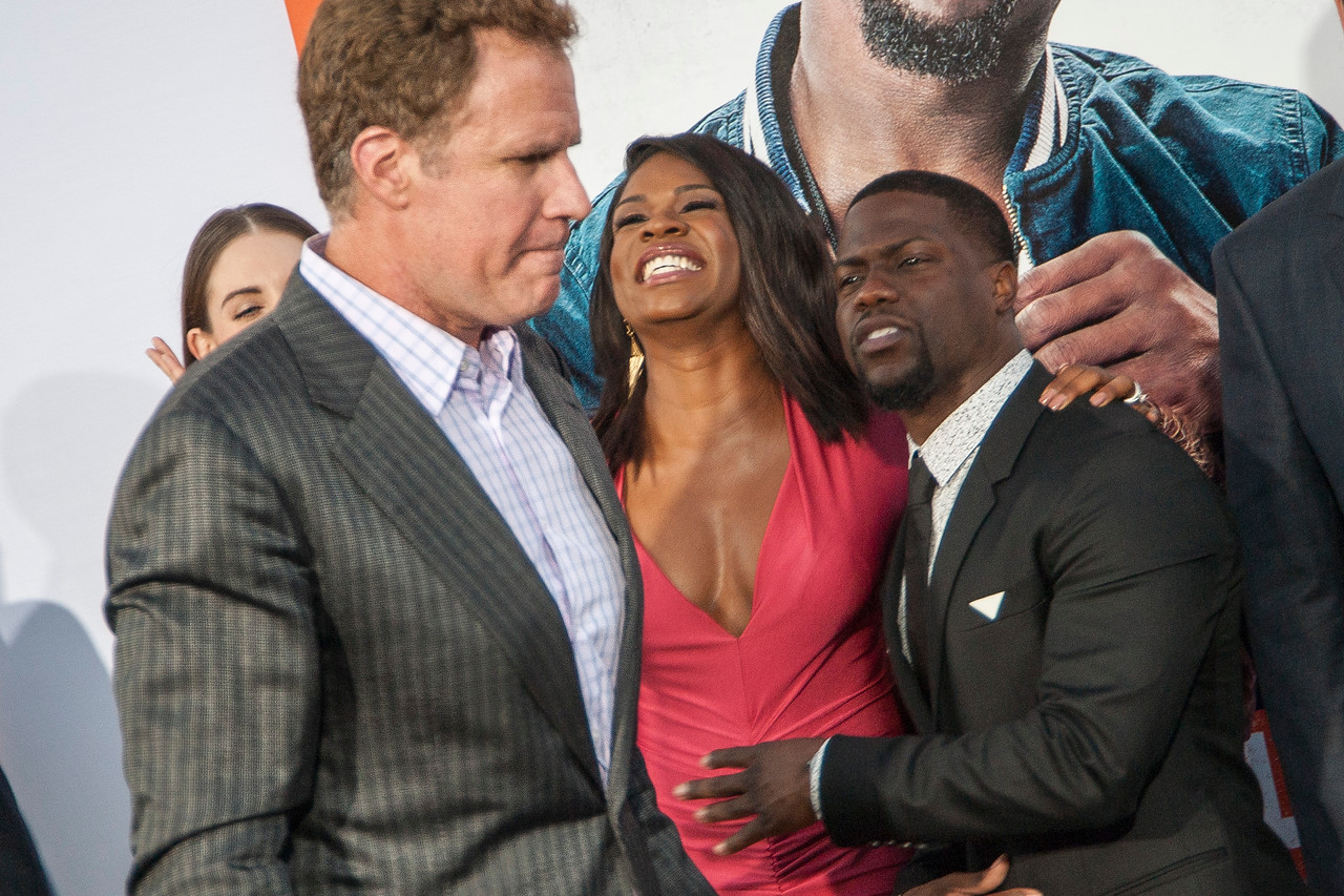 LOS ANGELES, CA - MARCH 25: Actors Erick Chavarria, Will Ferrell, Alison Brie, Edwina Findley Dickerson, Kevin Hart, writer/director Etan Cohen and rapper Tip 'TI' Harris arrive at the premiere of Warner Bros. Pictures' 'Get Hard' at the Chinese Theatre on March 25, 2015 in Los Angeles, California. (Photo by Tom Sorensen/Moovieboy Pictures)
