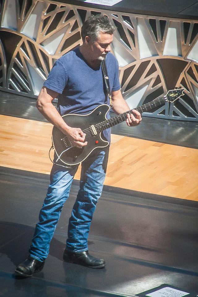 LOS ANGELES, CA - MARCH 30: Musician Eddie Van Halen as Van Halen does a sound check for Jimmy Kimmel Live Monday March 30, 2015 in Los Angeles, California. (Photo by Tom Sorensen/Moovieboy Pictures)