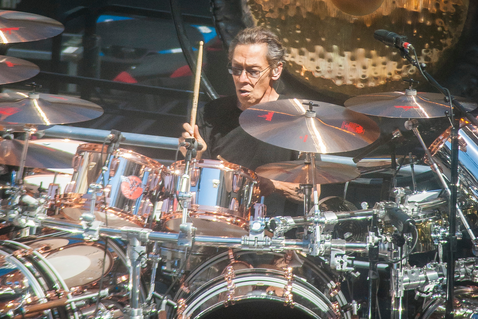 LOS ANGELES, CA - MARCH 30: Musician Alex Van Halen as Van Halen does a sound check for Jimmy Kimmel Live Monday March 30, 2015 in Los Angeles, California. (Photo by Tom Sorensen/Moovieboy Pictures)