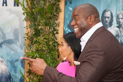 HOLLYWOOD, CA - JUNE 27: Magic Johnson and Cookie Johnson attend the premiere of Warner Bros. Pictures' 'The Legend Of Tarzan' at Dolby Theatre on Monday June 27, 2016 in Hollywood, California. (Photo by Tom Sorensen/Mooviboy Pictures)