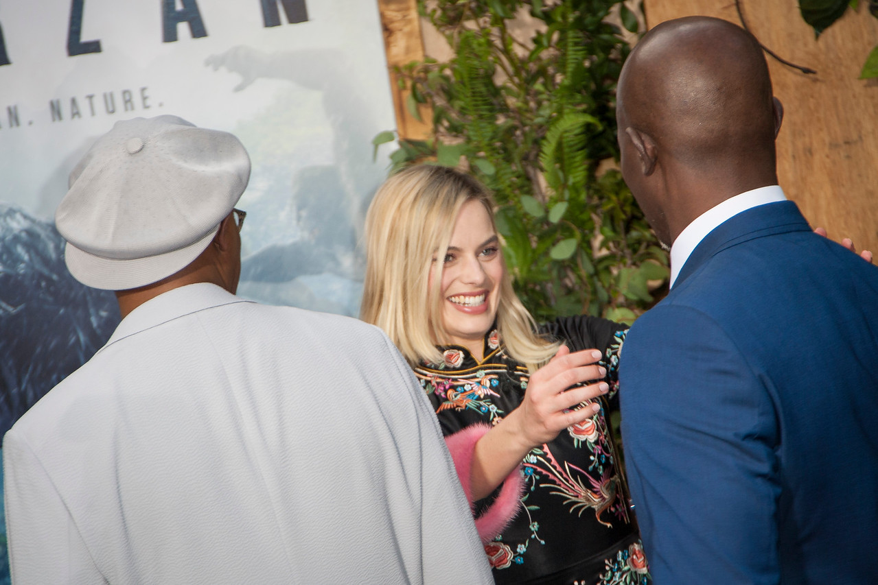HOLLYWOOD, CA - JUNE 27: Actors Samuel L. Jackson, Margot Robbie and Djimon Hounsou attend the premiere of Warner Bros. Pictures' 'The Legend Of Tarzan' at Dolby Theatre on Monday June 27, 2016 in Hollywood, California. (Photo by Tom Sorensen/Mooviboy Pictures)