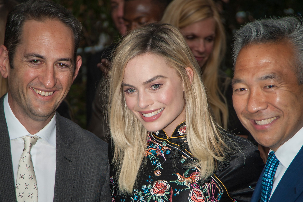 HOLLYWOOD, CA - JUNE 27: Greg Silverman, President, Creative Development and Worldwide Production, Warner Bros. Pictures, actress Margot Robbie and Kevin Tsujihara, Chairman and Chief Executive Officer, Warner Bros. attend the premiere of Warner Bros. Pictures' 'The Legend Of Tarzan' at Dolby Theatre on Monday June 27, 2016 in Hollywood, California. (Photo by Tom Sorensen/Mooviboy Pictures)