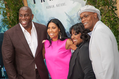 HOLLYWOOD, CA - JUNE 27: Magic Johnson, Cookie Johnson, Samuel L Jackson and wife LaTanya Richardson attend the premiere of Warner Bros. Pictures' 'The Legend Of Tarzan' at Dolby Theatre on Monday June 27, 2016 in Hollywood, California. (Photo by Tom Sorensen/Mooviboy Pictures)