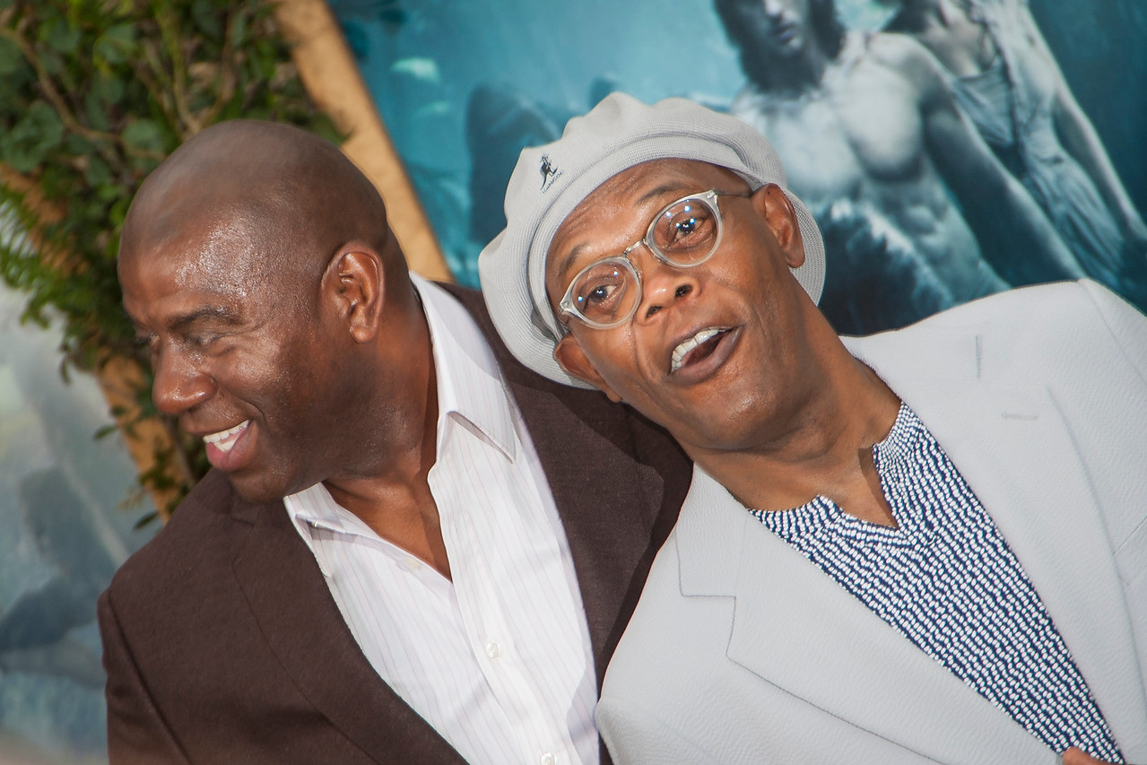 HOLLYWOOD, CA - JUNE 27: Magic Johnson and Samuel L Jackson attend the premiere of Warner Bros. Pictures' 'The Legend Of Tarzan' at Dolby Theatre on Monday June 27, 2016 in Hollywood, California. (Photo by Tom Sorensen/Mooviboy Pictures)