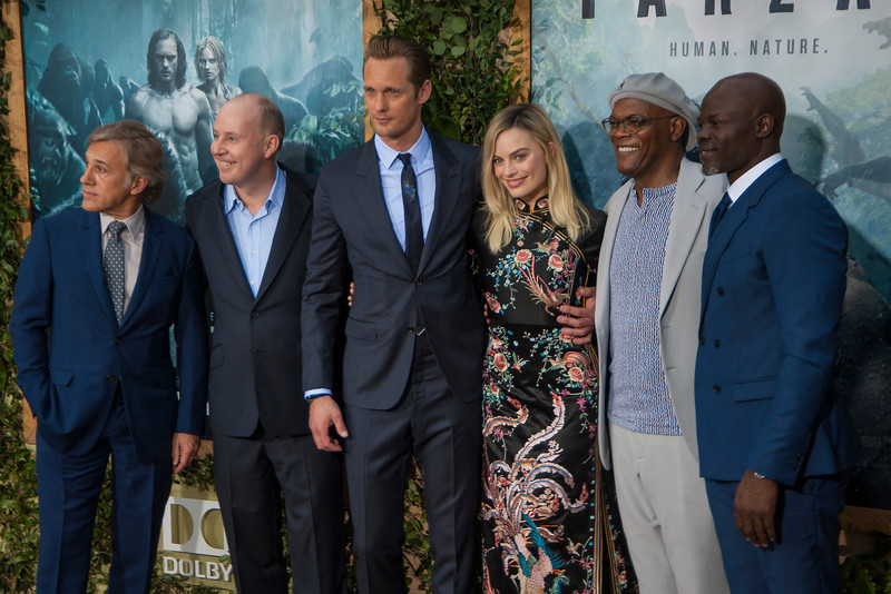 HOLLYWOOD, CA - JUNE 27: Actor Christoph Waltz, director David Yates, actors Alexander Skarsgard, Margot Robbie, Samuel L. Jackson and Djimon Hounsou attend the premiere of Warner Bros. Pictures' 'The Legend Of Tarzan' at Dolby Theatre on Monday June 27, 2016 in Hollywood, California. (Photo by Tom Sorensen/Mooviboy Pictures)