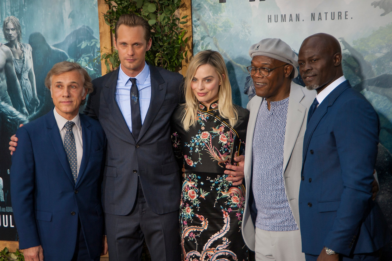 HOLLYWOOD, CA - JUNE 27: Actors Christoph Waltz, Alexander Skarsgard, Margot Robbie, Samuel L. Jackson and Djimon Hounsou attend the premiere of Warner Bros. Pictures' 'The Legend Of Tarzan' at Dolby Theatre on Monday June 27, 2016 in Hollywood, California. (Photo by Tom Sorensen/Mooviboy Pictures)