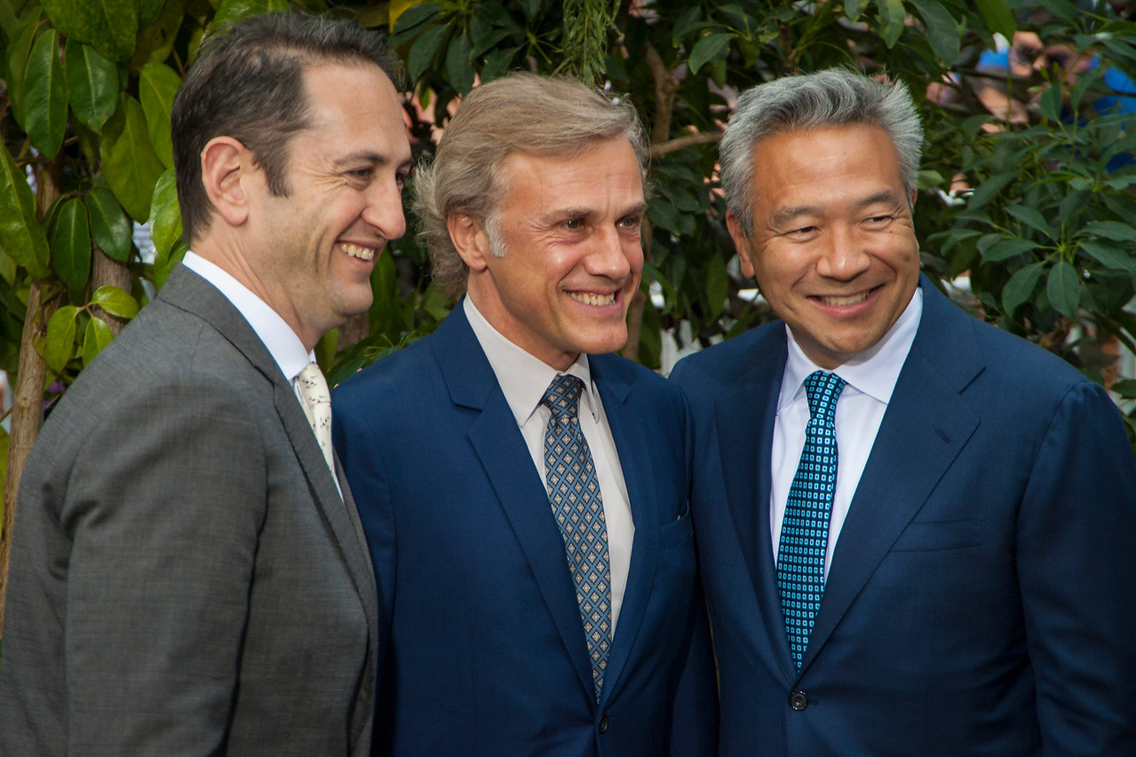 HOLLYWOOD, CA - JUNE 27: Greg Silverman, President, Creative Development and Worldwide Production, Warner Bros. Pictures, Christoph Waltz and Kevin Tsujihara, Chairman and Chief Executive Officer, Warner Bros. attend the premiere of Warner Bros. Pictures' 'The Legend Of Tarzan' at Dolby Theatre on Monday June 27, 2016 in Hollywood, California. (Photo by Tom Sorensen/Mooviboy Pictures)