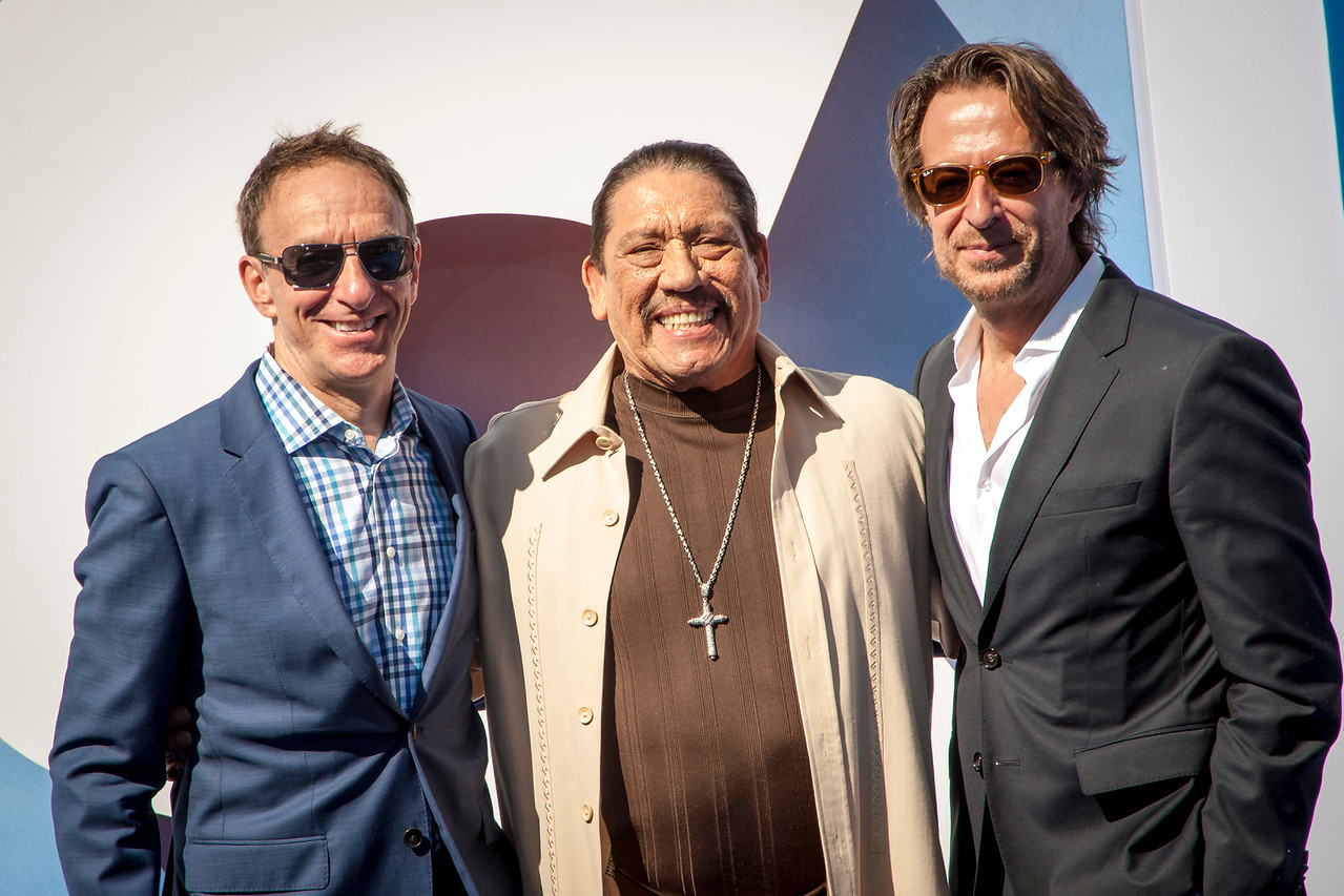 WESTWOOD, CA - SEPTEMBER 17: Actor Danny Trejo (C) and composers Mychael Danna (L) and Jeff Danna (R) attend the premiere of Warner Bros. Pictures' 'Storks' at Regency Village Theatre on Saturday September 17, 2016 in Westwood, California. (Photo by Tom Sorensen/Moovieboy Pictures)