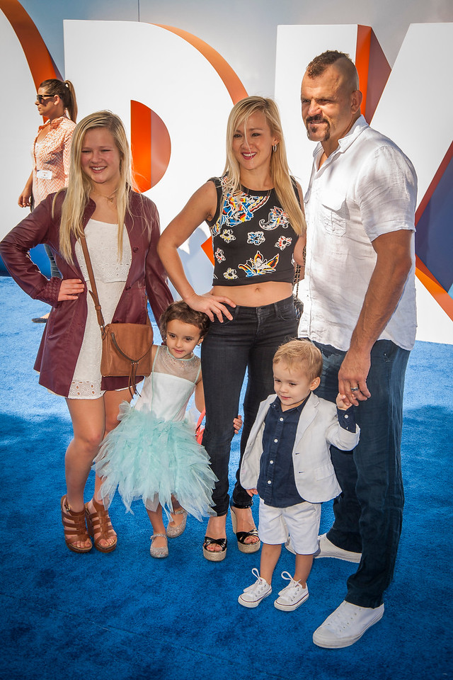 WESTWOOD, CA - SEPTEMBER 17: Mixed Martial Artist Chuck Liddell (R) and wife Heidi Northcott and family attend the premiere of Warner Bros. Pictures' 'Storks' at Regency Village Theatre on Saturday September 17, 2016 in Westwood, California. (Photo by Tom Sorensen/Moovieboy Pictures)