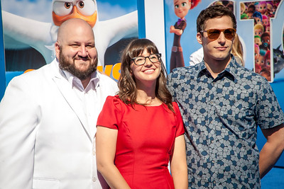 WESTWOOD, CA - SEPTEMBER 17: Actors Stephen Kramer Glickman, Katie Crown and Andy Samberg attend the premiere of Warner Bros. Pictures' 'Storks' at Regency Village Theatre on Saturday September 17, 2016 in Westwood, California. (Photo by Tom Sorensen/Moovieboy Pictures)