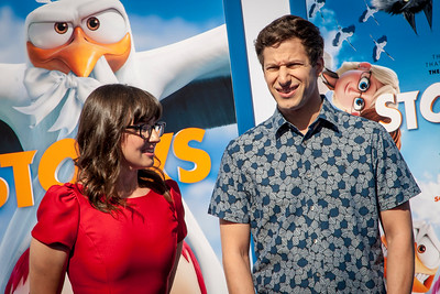 WESTWOOD, CA - SEPTEMBER 17: Actors Katie Crown and Andy Samberg attend the premiere of Warner Bros. Pictures' 'Storks' at Regency Village Theatre on Saturday September 17, 2016 in Westwood, California. (Photo by Tom Sorensen/Moovieboy Pictures)