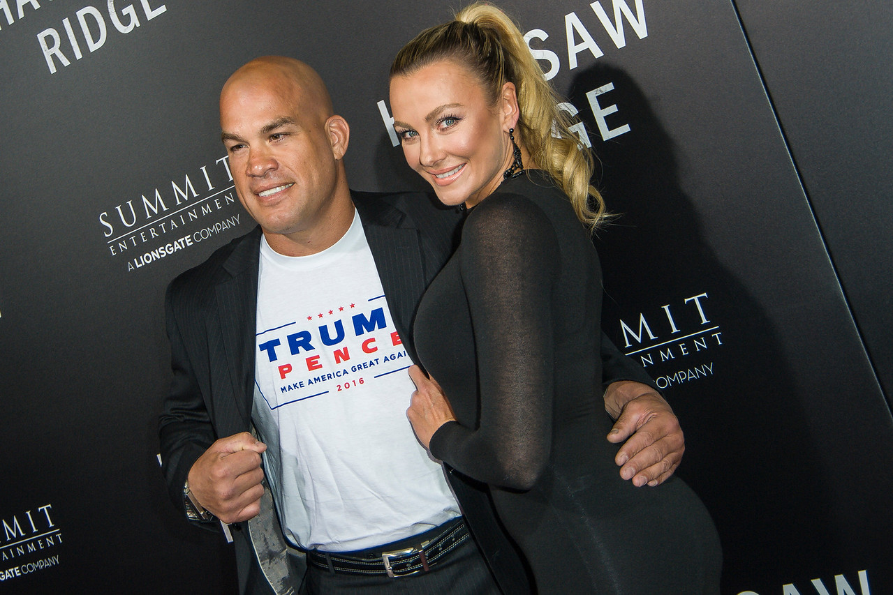 BEVERLY HILLS, CA - OCTOBER 24: Tito Ortiz and Amber Miller attend the screening of Summit Entertainment's 'Hacksaw Ridge' at the Samuel Goldwyn Theater on Monday October 24, 2016 in Beverly Hills, California. (Photo by Tom Sorensen/Moovieboy Pictures)