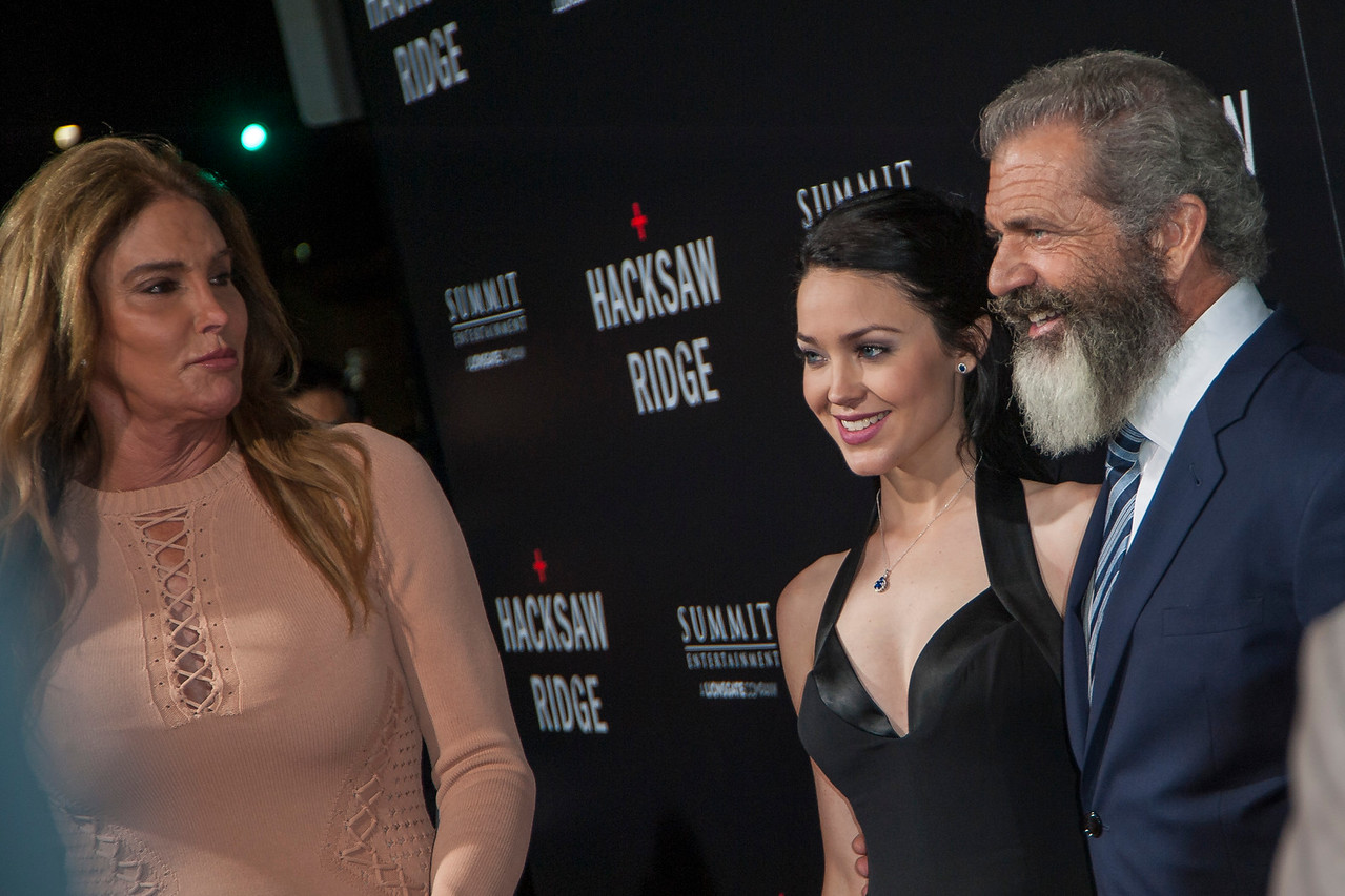 BEVERLY HILLS, CA - OCTOBER 24: Caitlyn Jenner, Rosalind Ross (L) and director Mel Gibson attend the screening of Summit Entertainment's 'Hacksaw Ridge' at the Samuel Goldwyn Theater on Monday October 24, 2016 in Beverly Hills, California. (Photo by Tom Sorensen/Moovieboy Pictures)