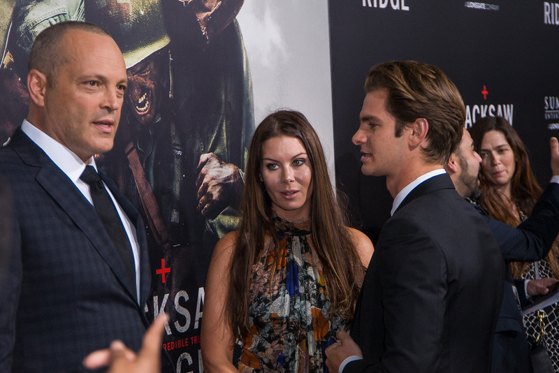 BEVERLY HILLS, CA - OCTOBER 24: Actor Vince Vaughn, wife Kyla Weber and actor Andrew Garfield attend the screening of Summit Entertainment's 'Hacksaw Ridge' at the Samuel Goldwyn Theater on Monday October 24, 2016 in Beverly Hills, California. (Photo by Tom Sorensen/Moovieboy Pictures)