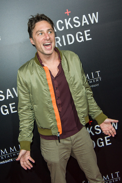 BEVERLY HILLS, CA - OCTOBER 24: Actor Zach Braff attends the screening of Summit Entertainment's 'Hacksaw Ridge' at the Samuel Goldwyn Theater on Monday October 24, 2016 in Beverly Hills, California. (Photo by Tom Sorensen/Moovieboy Pictures)
