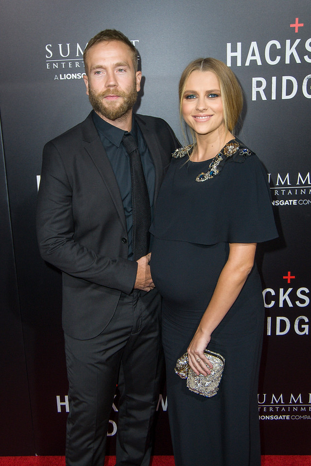 BEVERLY HILLS, CA - OCTOBER 24: 4: Actress Teresa Palmer (R) and Mark Webber attend the screening of Summit Entertainment's 'Hacksaw Ridge' at the Samuel Goldwyn Theater on Monday October 24, 2016 in Beverly Hills, California. (Photo by Tom Sorensen/Moovieboy Pictures)